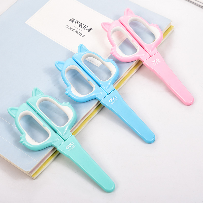1 Pc Lovely Cartoon Fox Scissors With Safety Cap For Children Kids DIY 136mm 3 Colors  School Supplies Deli 6061
