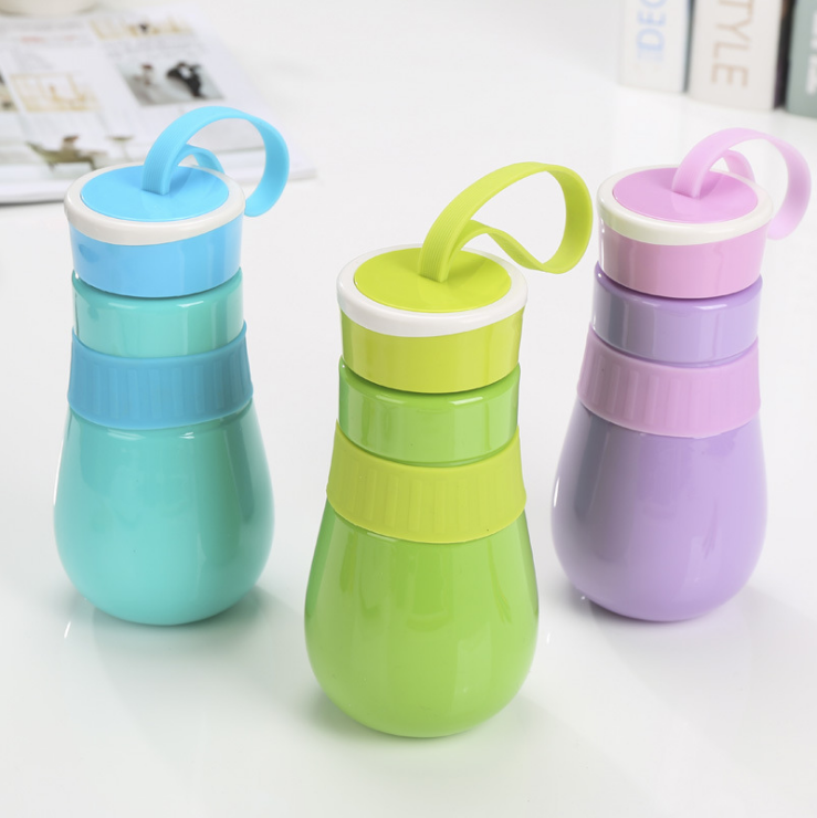 BXLYY Convenient Plastic Water Bottle Round Belly bottle Cute Child Outdoor Tourism Mini Rope Water bottles Personality Gift .5Z