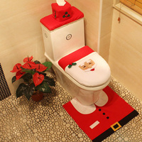 Newest Hot Sale Toilet Seat Cover And Rug Bathroom Set Contour Rug Christmas Decorations For Home