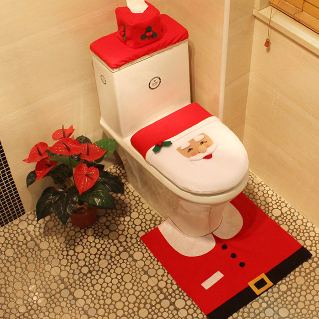 Newest Hot Sale Toilet Seat Cover And Rug Bathroom Set Contour Christmas Decorations For Home