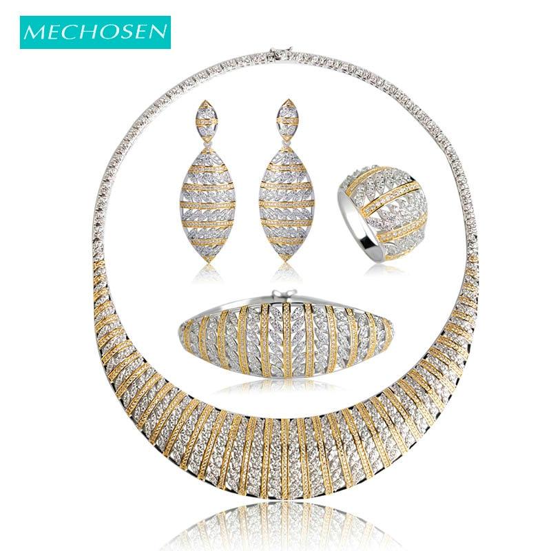 MECHOSEN Luxury Nigerian Wedding Jewelry Sets For Women Silver Color Zirconia Necklace Earrings Ring Bracelet 4 Pcs Bijouterias