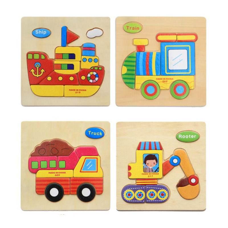 ZCUBE 4 Pcs Wooden Puzzle Educational Toys Child Early Game