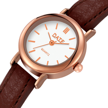 Korean fashion simple retro small round belt watch students watches small fresh temperament WristWatch watch girl student korean version of the simple retro small small disc female table small round black with black face