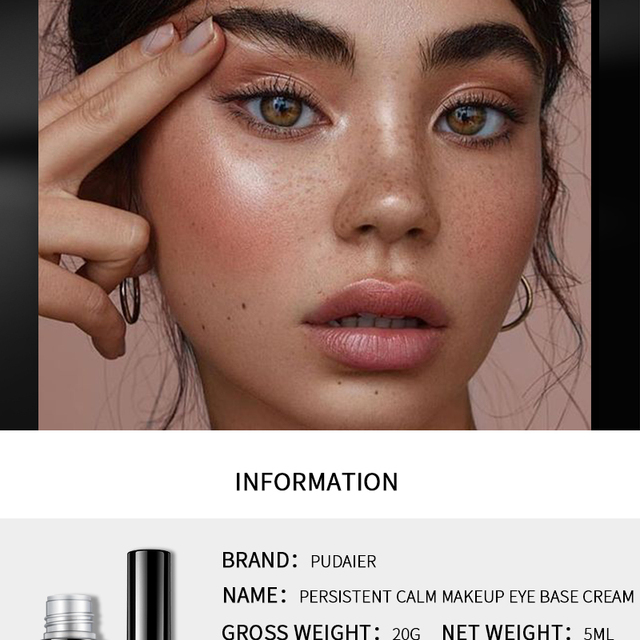 Pudaier 2 Colors EyeShadow Primer Eye Makeup Face Base Cream Natural 24 Hours Lasting-makeup Eye Shadow Pallete Color Cosmetic 2