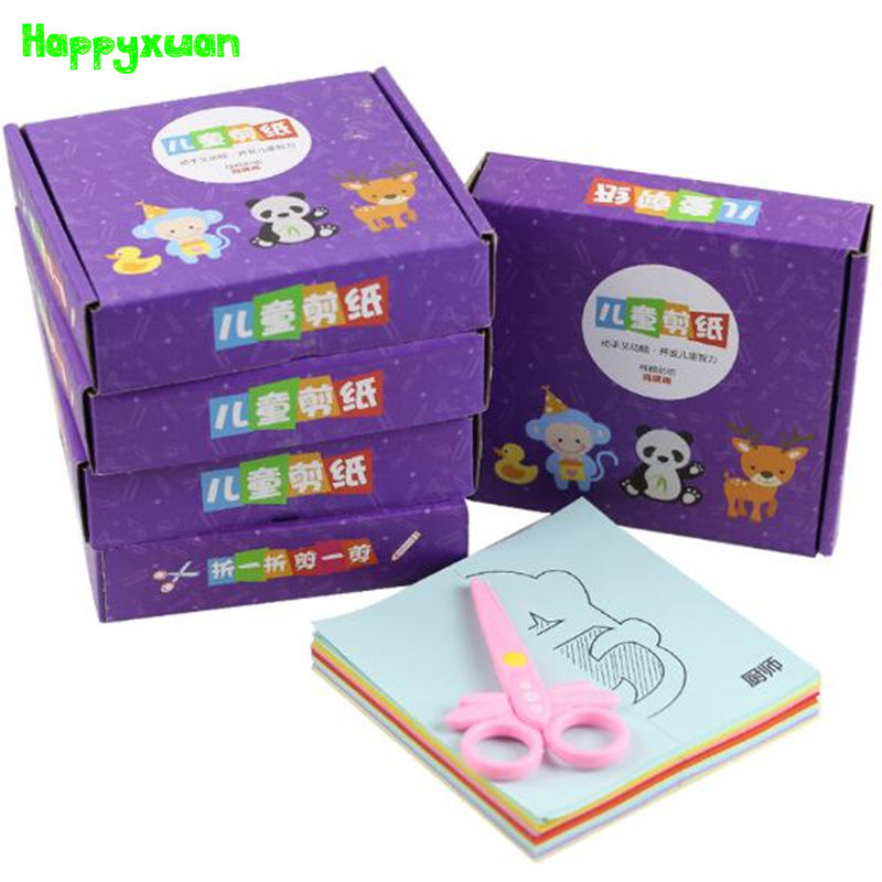 Happyxuan Cartoon Paper Cutting Book Handcraft Colorful Painting Gift box For kindergarten Education Creative Toys