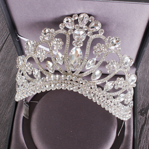 Image 4 - 新しいシルバーゴールドカラー結婚式の女王クラウン高級クリスタルビッグティアラクラウン櫛で花嫁のウェディングブライダルヘッドドレス HG 213
