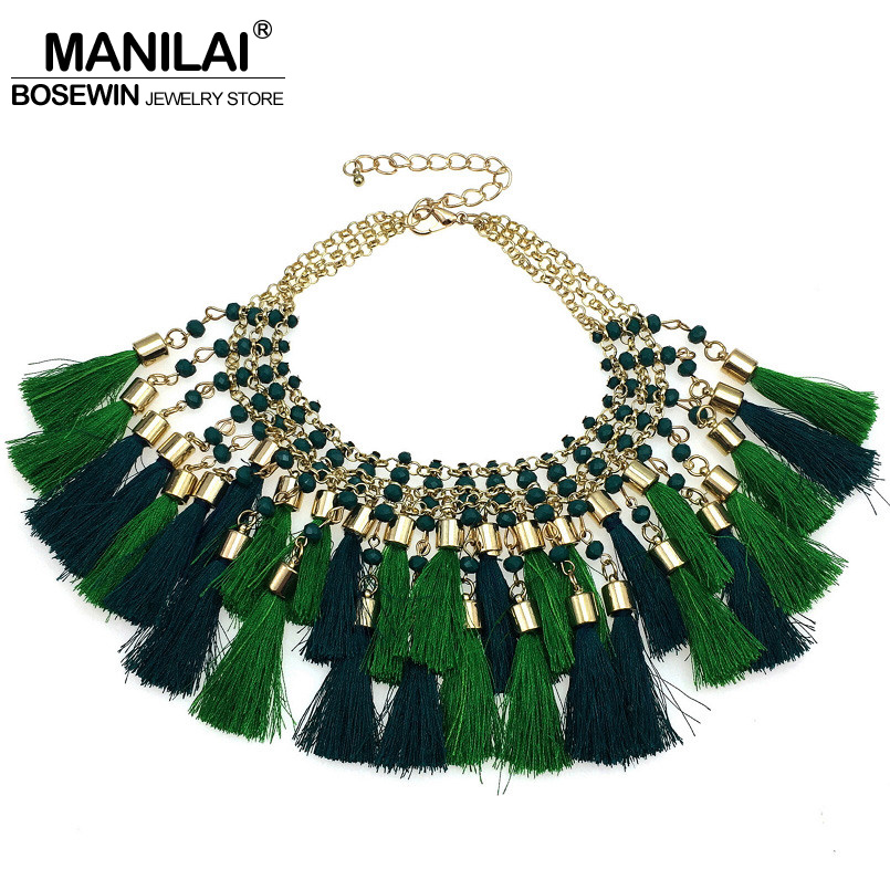 MANILAI New Fashion Bohemian Cotton Multicolor Tassel Necklaces Resin Beads Charms Statement Choker Necklaces For Woman Jewelry ...