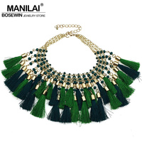 MANILAI New Fashion Bohemian Cotton Multicolor Tassel Necklaces Resin Beads Charms Statement Choker Necklaces For Woman