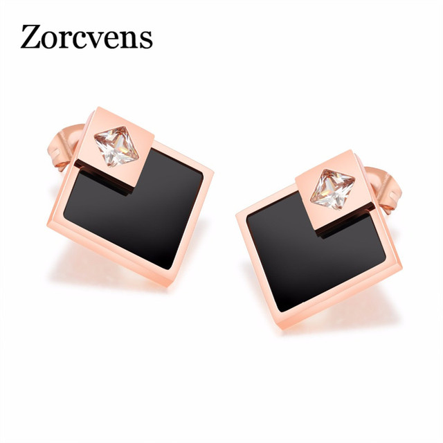 Zorcvens Earring For Women Stainless Steel Rose Gold Color Female Black Square Stud Earrings Fashion Jewelry