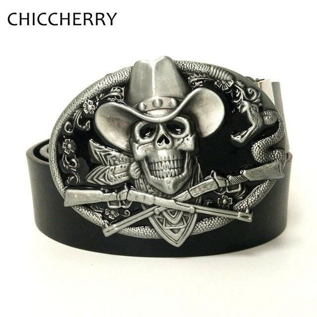Cool Men's Black PU Leather Brand Belts Big Skull Pirate Belt Buckle Metallic Vintage For Men Jeans Casual Cinto Ceinture Homme