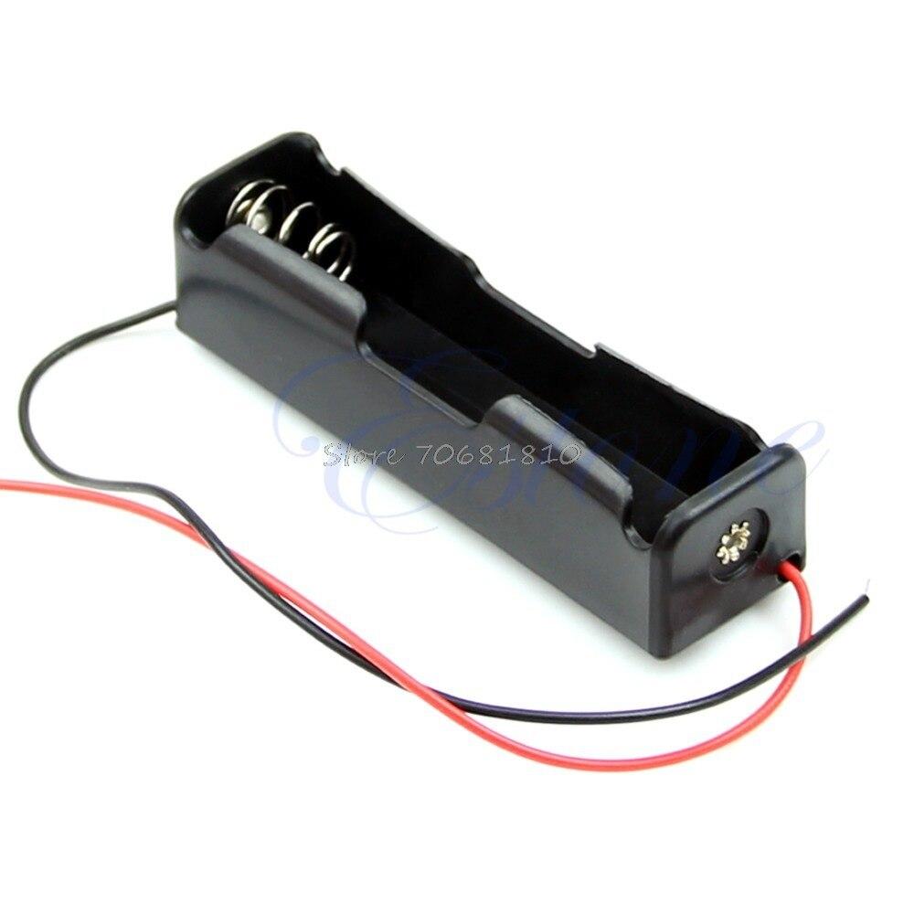"""1 Pc Kunststoff Lagerung Box Fall Halter Für 18650 Batterie Mit 6 """"wire Leads Schwarz"""