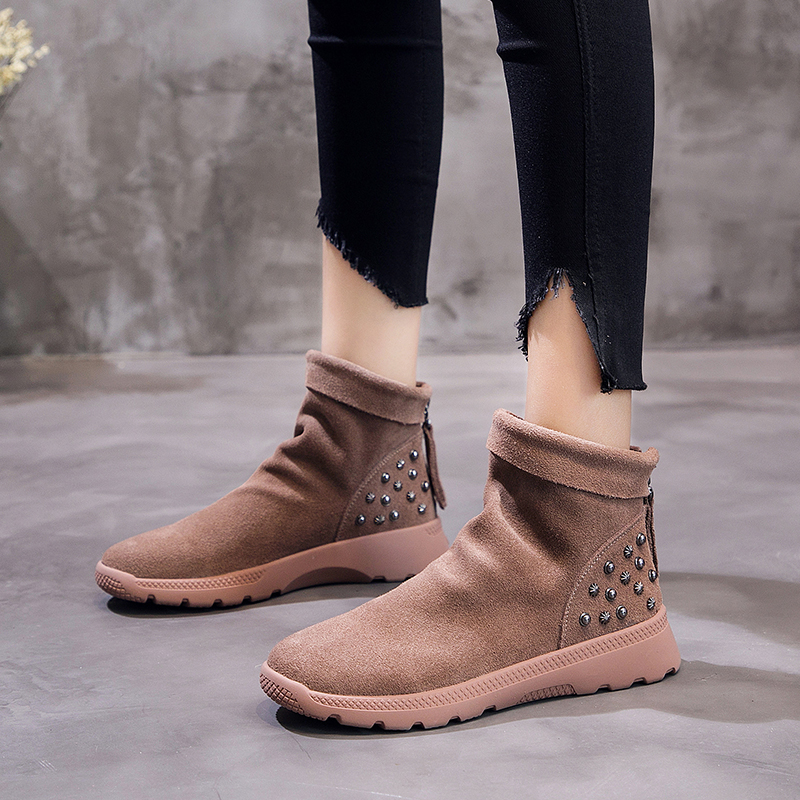 Dumoo Autumn Winter Boots Women Shoes Bota Feminina Winter Cow Suede Ankle Short Boots Rivets Zip Back Fashion botas mujer 2018 womens winter shoes ankle boots women bota feminina botas mujer botines mujer 2017 ladies platform wedge boots botas de neve
