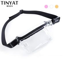 TINYAT Summer women waist bag pack PVC belt bag for phone money Transparent Belt Pouch Female Beach bag Fanny Pink Hip Bag(China)