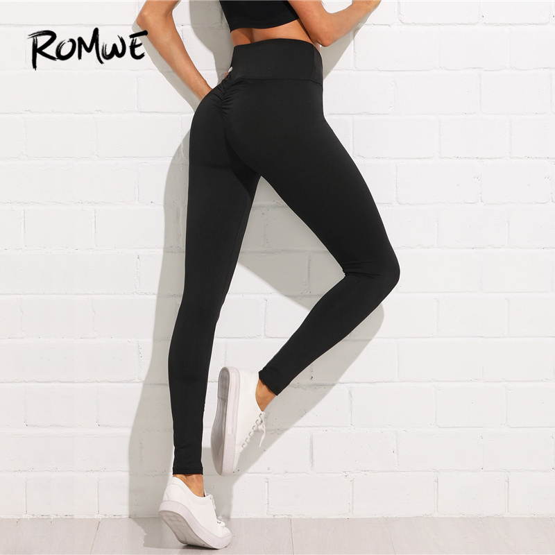 6374eb1453df00 Detail Feedback Questions about ROMWE Shirred Back Leggings Workout Clothes Women  High Quality Running Pants Fitness Fashion Leggings Black Skinning ...