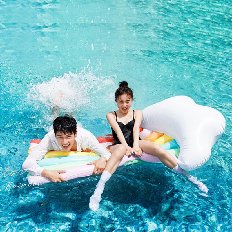 180cm Rainbow Floating board Swimming Ring Inflatable Swimming Float Adult Giant Pool Float Swim Ring Summer Water Fun Pool Toys