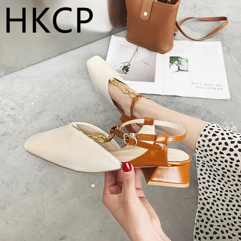 HKCP Fashion The Korean version of the womens sandal 2019 new fashion chain baotou gladiator midheel C329
