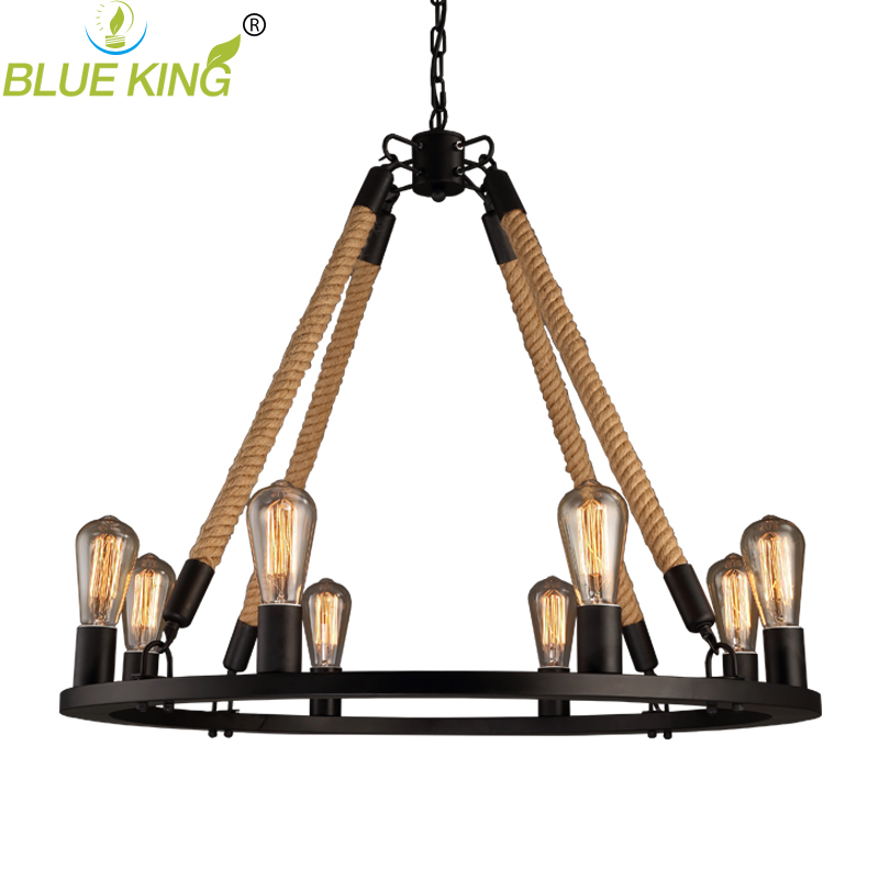 Vintage metal rope 8 lights pendant lighting vintage home lighting vintage metal rope 8 lights pendant lighting vintage home lighting fixture edison rope lamp suspension luminaire in pendant lights from lights lighting aloadofball Image collections
