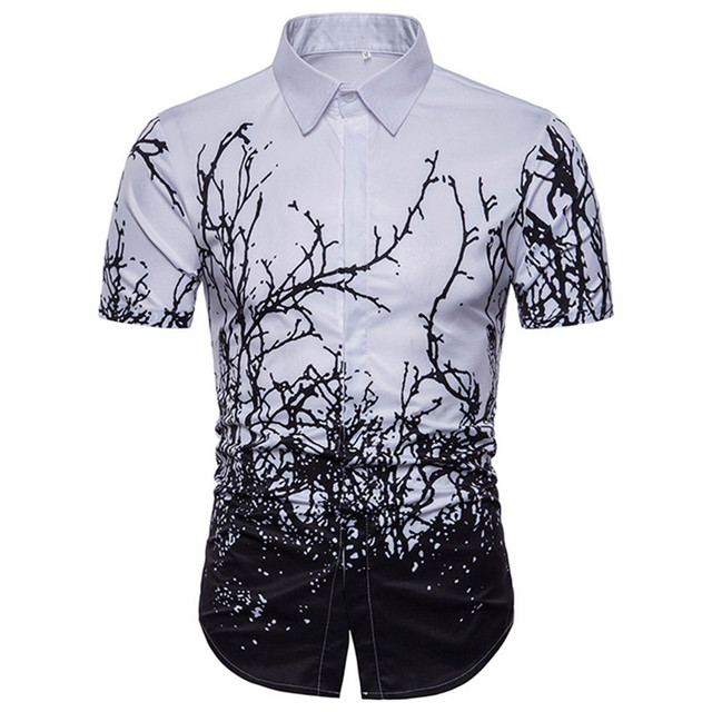 79164bfd Tree Printed Chinese Style Male Short Sleeve Shirts Vintage White Black Plant  Print Blouse Turn-