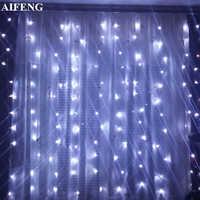 AIFENG Led rideau fée lumière 3x1.5M 3x2M 3x3M guirlande de noël chaîne 144 192 300Led éclairage de vacances pour décor de fête de mariage