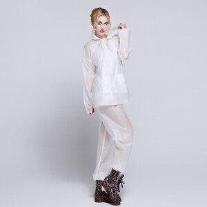 Image 1 - EVA Transparent Adult Rainwear Suit For Women And Men Outdoor Portable Split Rain Pants Raincoats Waterproof Female Raincoat