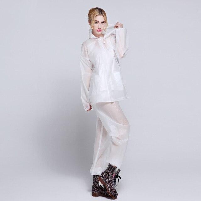 EVA Transparent Adult Rainwear Suit For Women And Men Outdoor Portable Split Rain Pants Raincoats Waterproof Female Raincoat