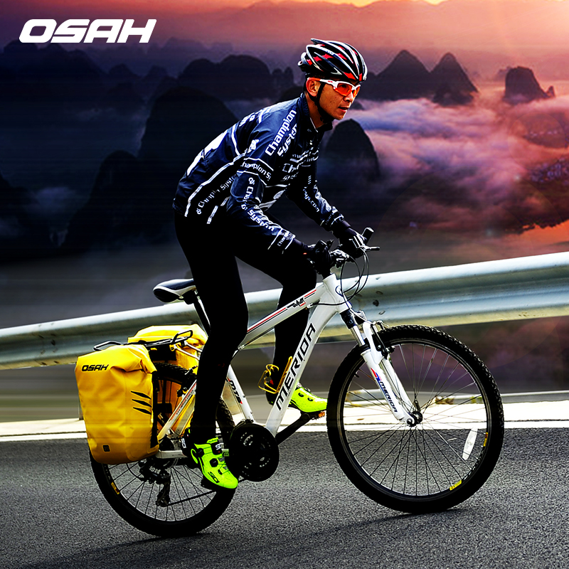 OSAH 2pcs/lot  IPX6 Waterproof Dry Bag Bicycle Bike Rear Bag MTB Mountain/Road Cycling Rear Seat Tail Bag Bicycle Saddle Bags wheel up bicycle rear seat trunk bag full waterproof big capacity 27l mtb road bike rear bag tail seat panniers cycling touring