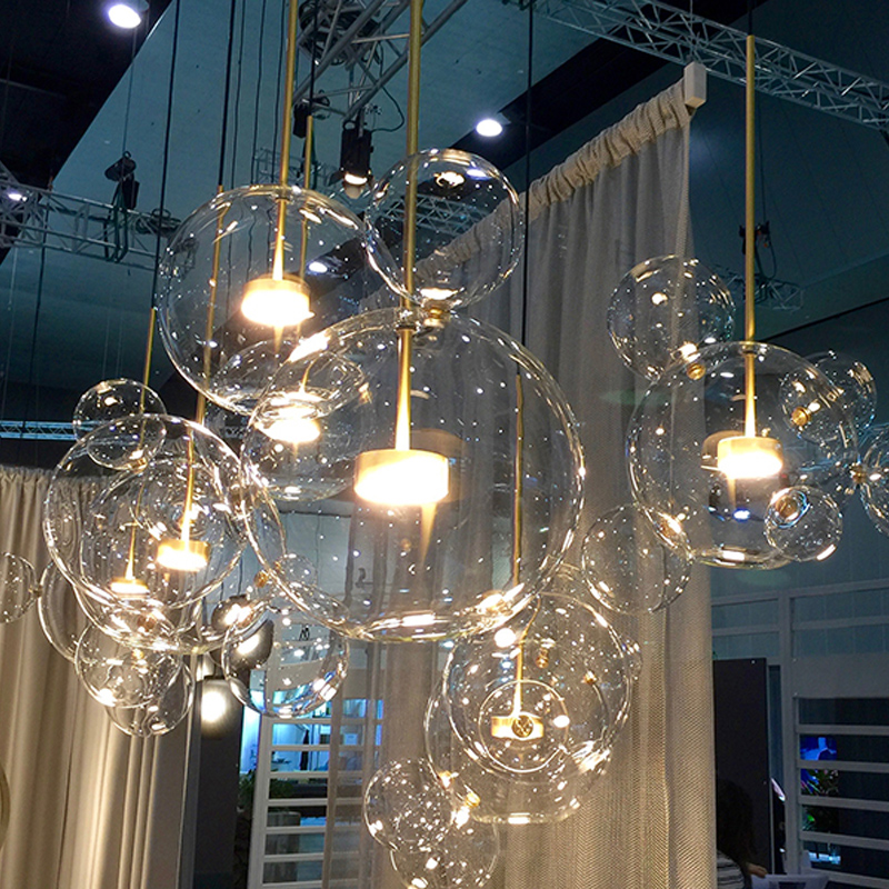 Post Modern Bolle Led Clear Glass Bubble Ball Led Pendant Fixtures Indoor Lighting Lustre luminaria Hanging Lamp 4 glass small clear ball paraffin oil lamp indoor outdoor