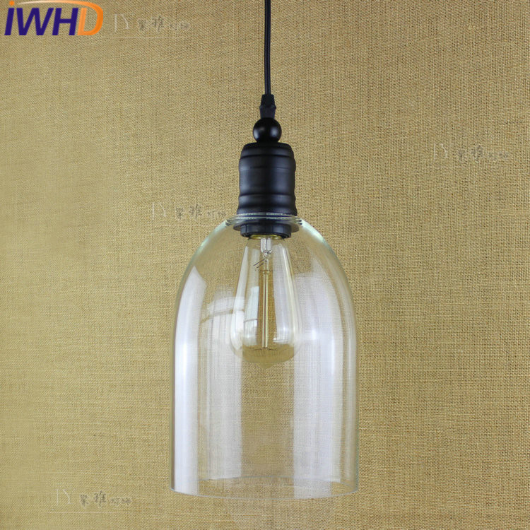 IWHD Style Loft Vintage Industrial Lighting Fixtures LED Pendant Lamp Glass Retro Lights Iron Kitchen Suspension Luminaire iwhd black iron hanging lights nordic style loft retro vintage pendant lamp kitchen luminaire suspendu home lighting fixtures