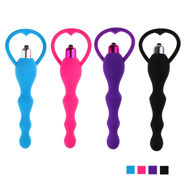 4 Colors Anal Beads Butt Plug Vibrator