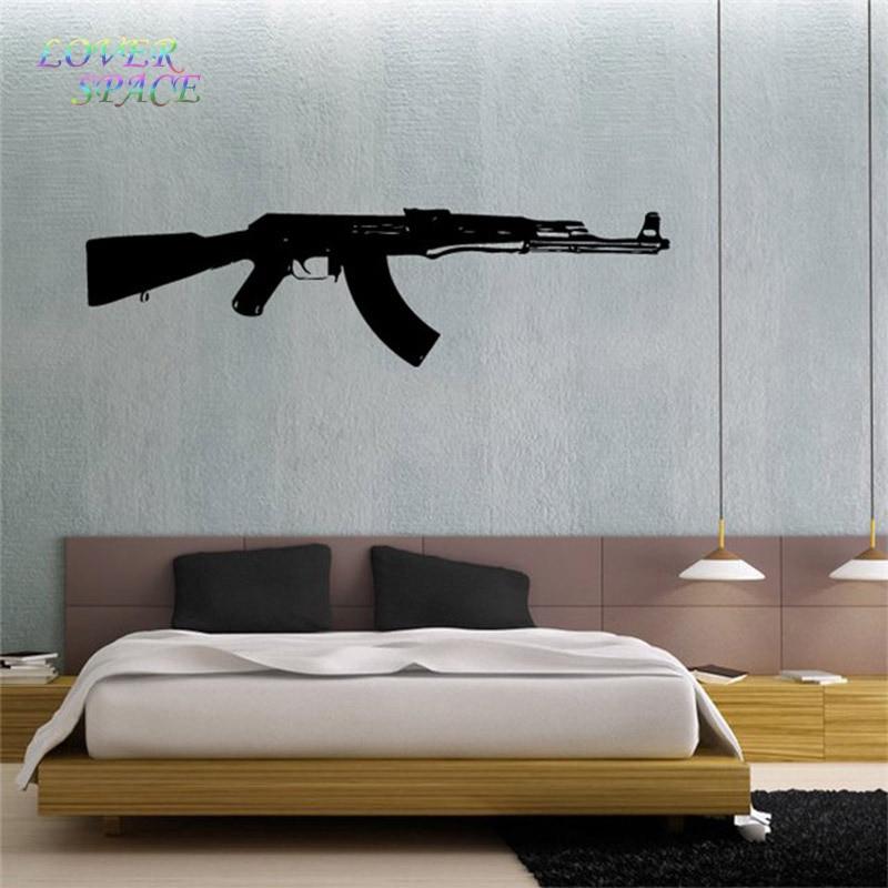 "wall decal vinyl sticker ak 47 gun weapon military decor 22"" x35"