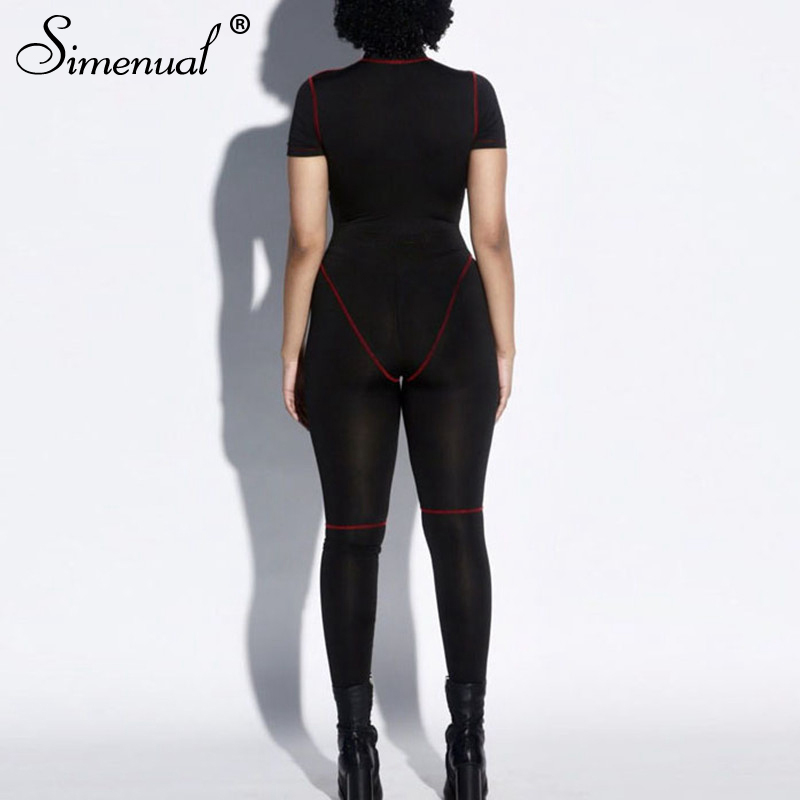 Simenual Fitness Sporty Active Wear Rompers Womens Jumpsuit Zipper Patchwork Casual Workout Short Sleeve Bodysuits Fashion 2019