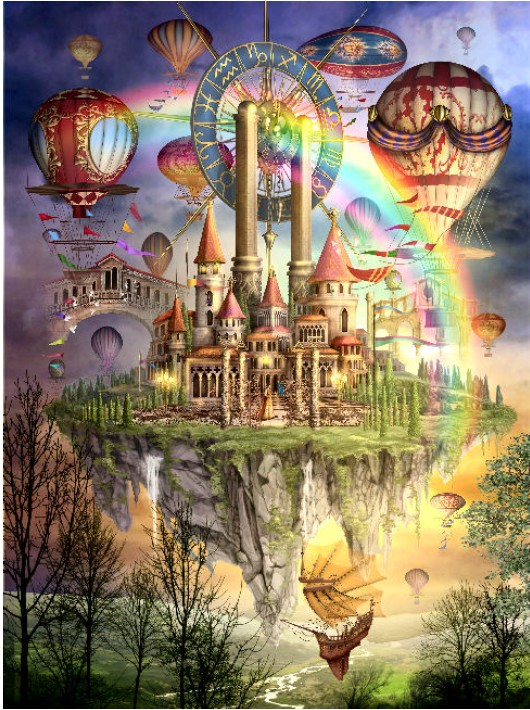 14/16/18/27/28 Rainbow Balloon Castle View  2th Crafts Sewing  Counted Needlework Cross Stitch For Embroidery Kits Cross-Stitch