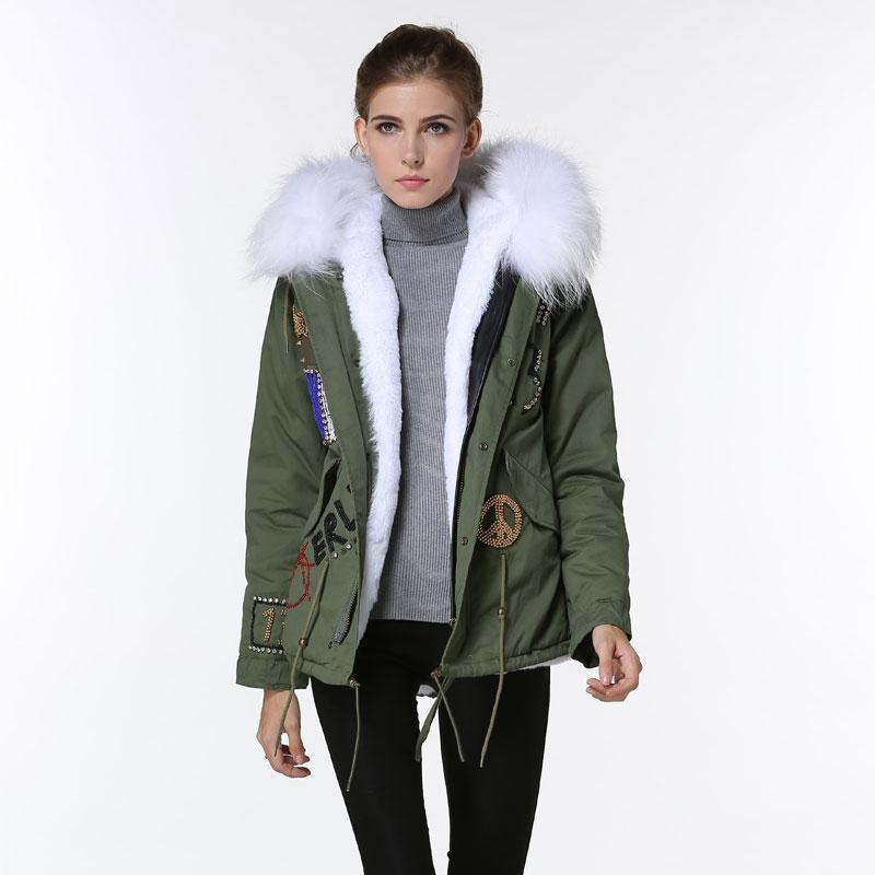 Elegant Army Green France Flag Beading Thicken Jacket Women White cool Winter Jacket