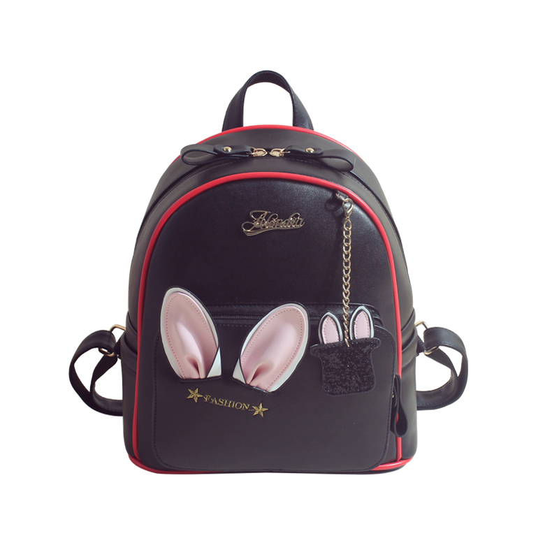 2017 Women Leather Backpacks Cartoon Rabbits Ear Backpacks Mini Cute Teen School Backpack for Teenage Girls