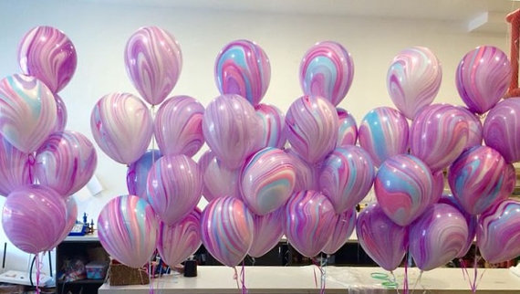 500pcs Marble Balloons Baby Shower Unicorn First Birthday Agate
