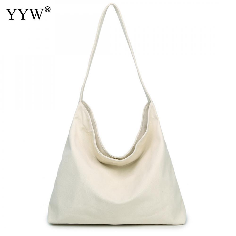 White Simple Style Canvas Big Shoulder Bag Women's Bag Large Shopping Bag Solid Bag