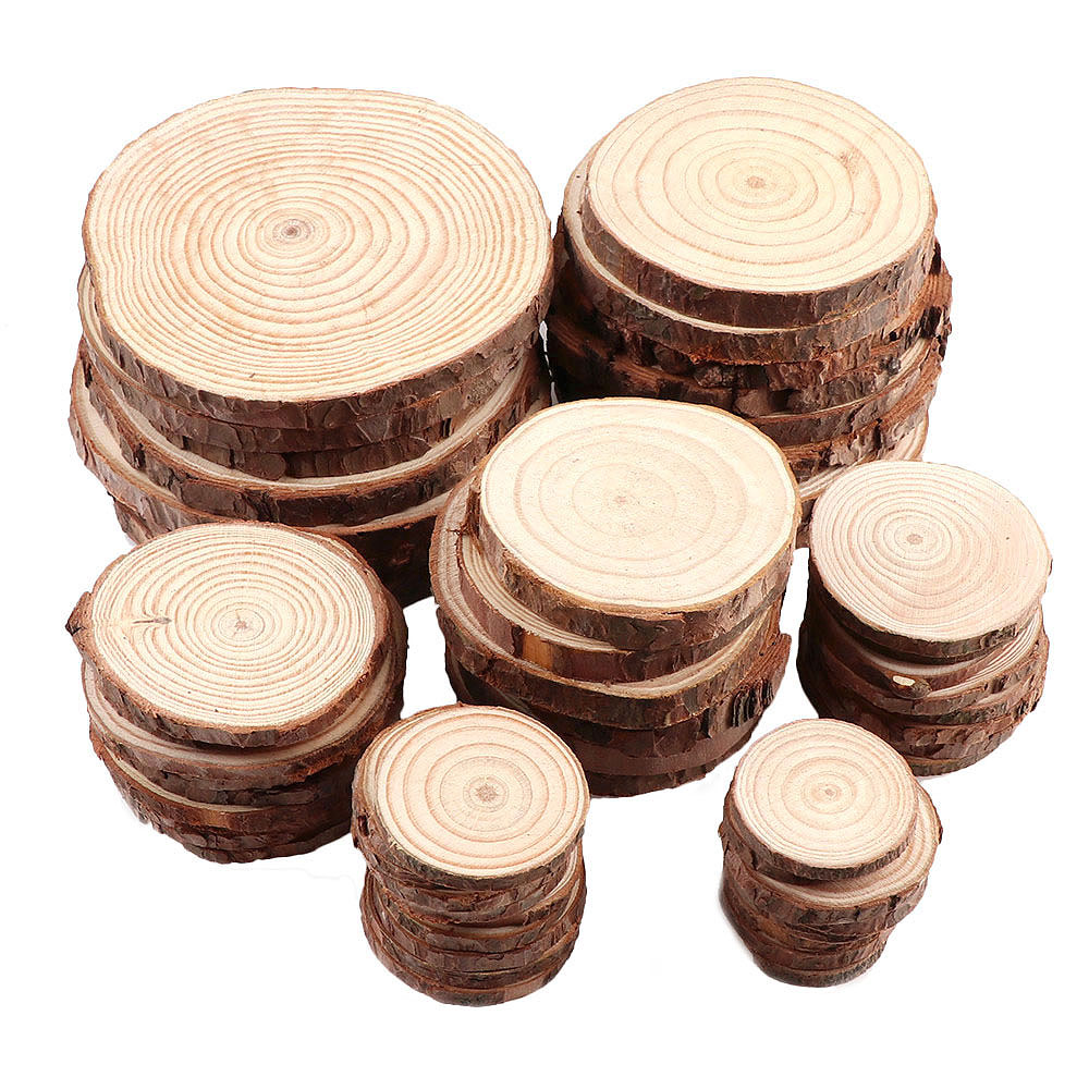 1 Pack Unfinished Pine Natural Round Wood Slices Circles With Tree Bark Log Discs For DIY Crafts Wedding Party Painting Decor