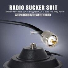 Walkie Talkie Аксессуары 5 М питающий кабель 13 СМ магнит PL259 порт Двухстороннее Радио Магнитная Антенна База Для Автомобиля радио