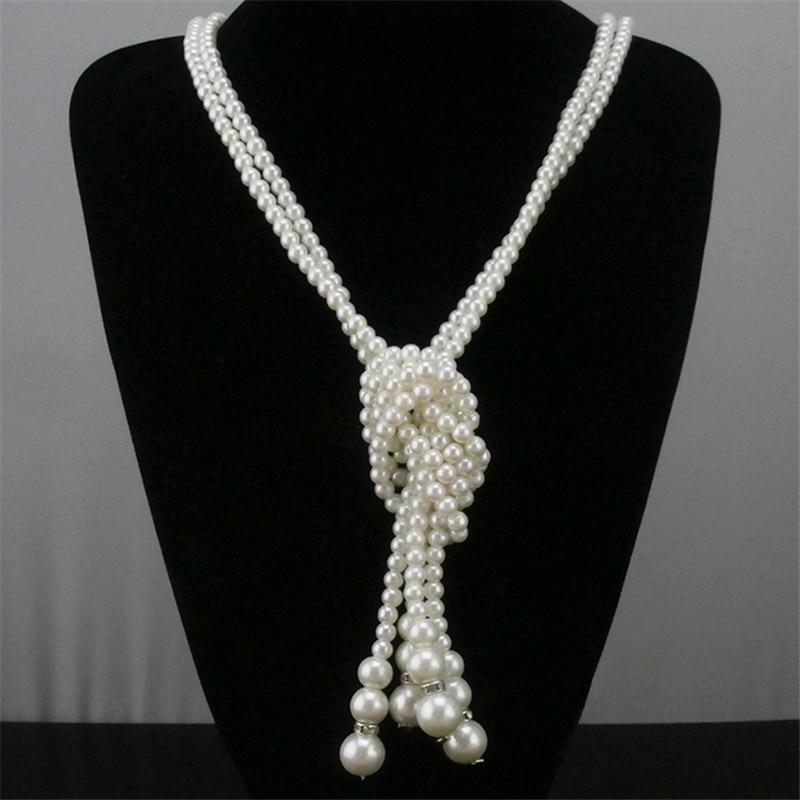 Элегантный белый имитация жемчуга однослойные длинные цепочки и ожерелья женские модные украшения ожерелье регулируемой длины пальто цеп...