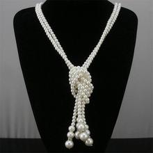 Женское Двухслойное длинное ожерелье элегантное белое с имитацией