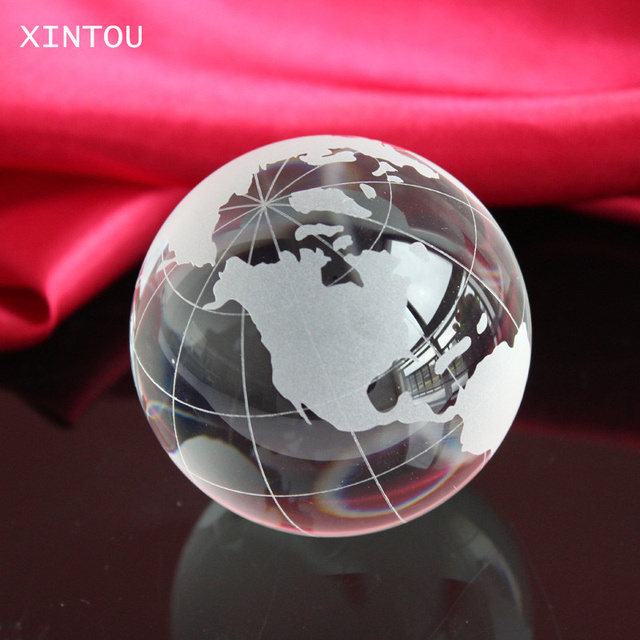 Xintou 6cm crystal glass globe world map opening gifts transparent xintou 6cm crystal glass globe world map opening gifts transparent glass office desk ornaments feng shui gumiabroncs Images