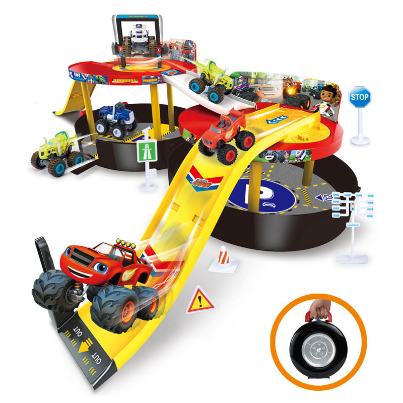 blaze car toys monster machines hot wheels blaze vehicle track cars kids toys with two cars for children gifts