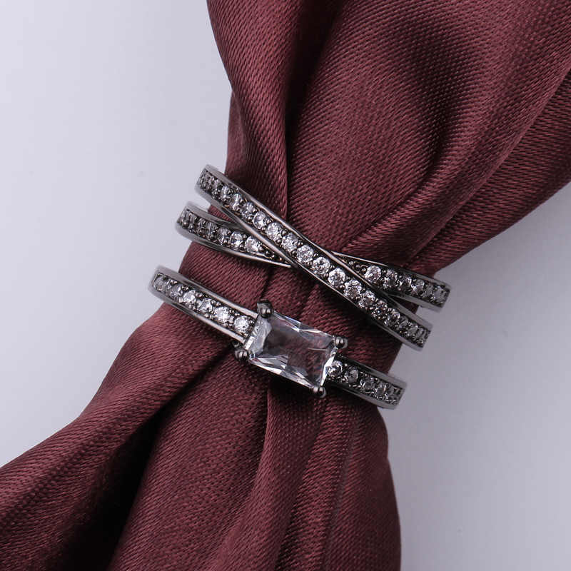 สีดำแหวนเงินชุดสีขาว Zircon ใหม่แฟชั่นเครื่องประดับของขวัญเจ้าหญิงหมั้นแหวน Vintage แหวน