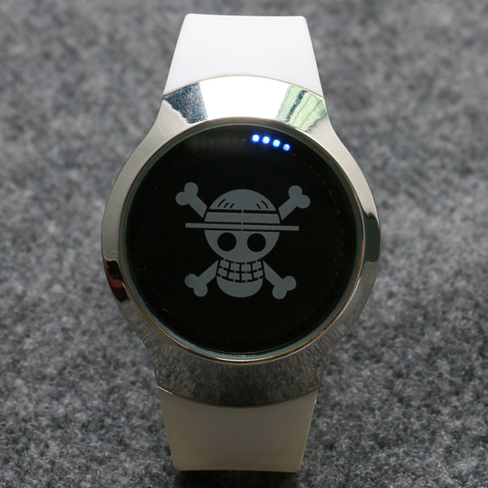 New Arrival Onepiece Skull Touch Screen Rubber Band Strap Business Stylish Sport Simple Analog Women Men Quartz Watch (4)