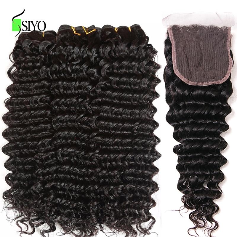 SIYO Peruvian Curly Hair Bundles With Closure 4x4 Lace Free Part Human Hair Weave 3 Bundles With Closure Non Remy Hair