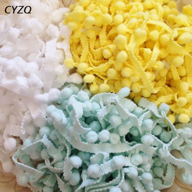 5Yard Rainbow Pom Pom Lace Tassel Trim Balls Fringe Ribbon Curtain Sewing 2.5CM