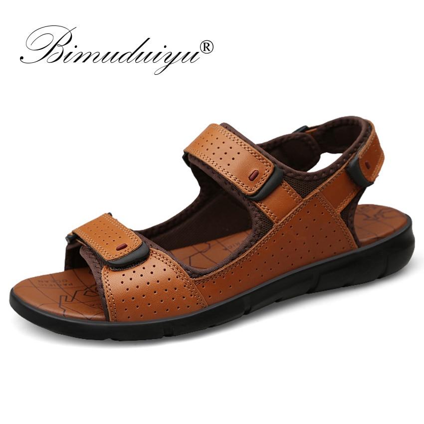 BIMUDUIYU New Fashion Summer Leisure Beach Men Shoes High Quality Genuine Leather Mens Sandals Big Size 38-48 Male Sandals