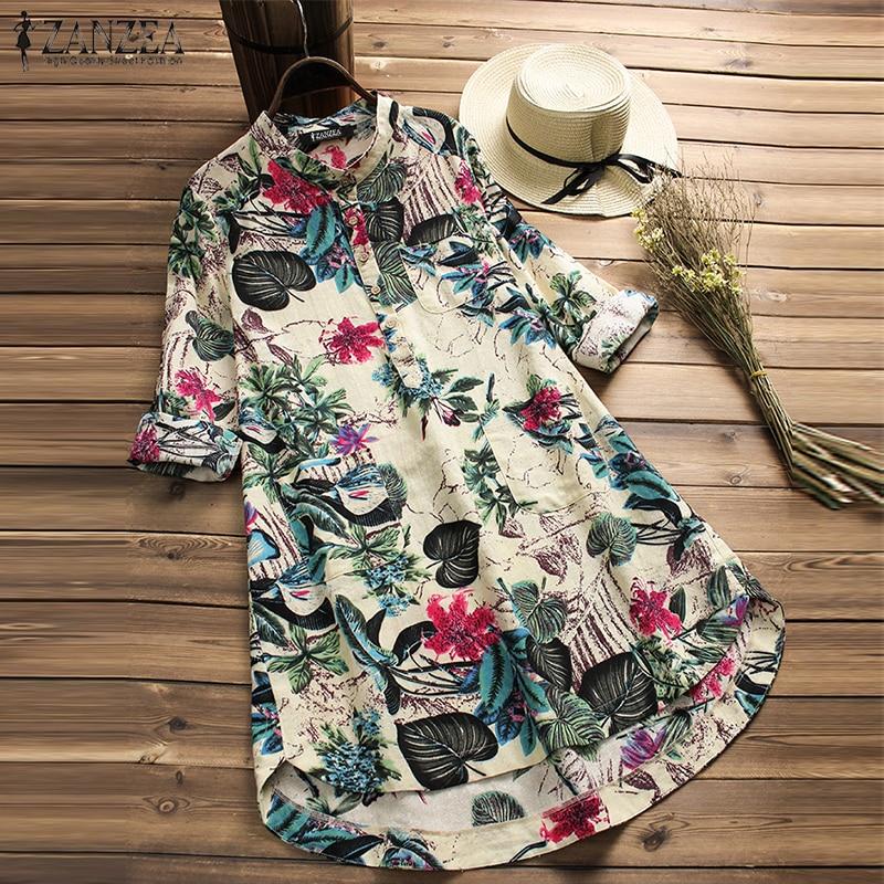 67e8767678a 2019 ZANZEA Women Summer Floral Printed O Neck Cotton Linen Shirt Casual  Loose Long Sleeve Blouse
