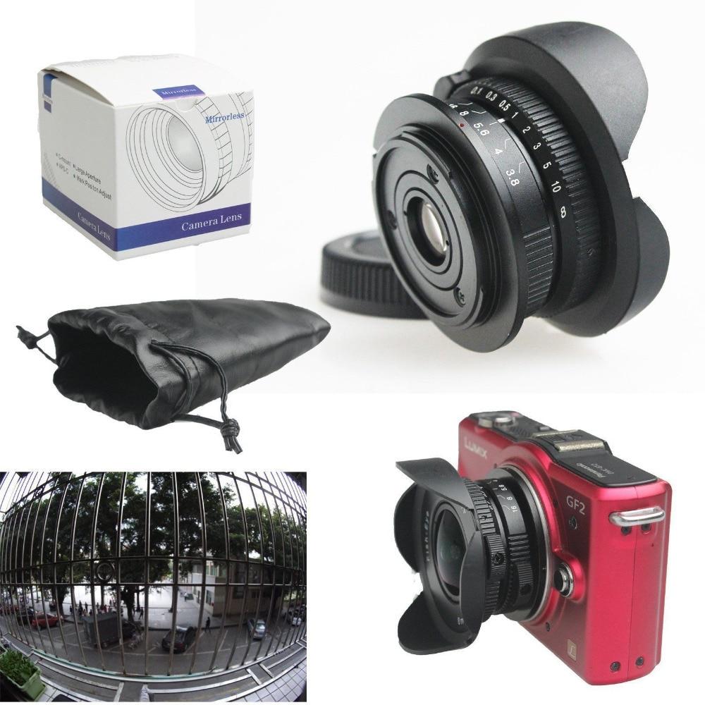 8mm f/3.8 C mount 4/3 Fisheye CCTV camera Lens for Micro 4/3 MFT M4/3 E-PL7 M1 GH4 C-M3/4 camera 3 8mm lens 1 2 3 sensor 12megapixel s mount low distortion for dji phantom 3 aerial gopro 4 camera drones
