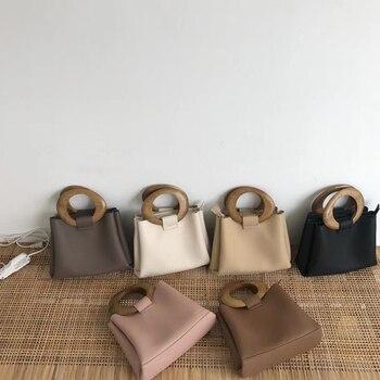 Повседневные сумки с деревянной ручкой, женские сумки на плечо из искусственной кожи, женские ручные сумки известных марок, женские сумки, ...